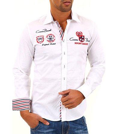 Bílá košile s červenomodrými nášivkami ae45eb3ce1