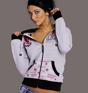 Sportovní šedá mikina s kapucí a černým lemem 48021604c5