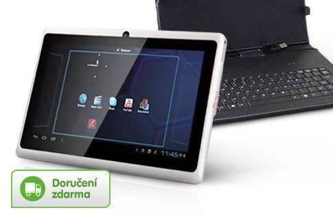 Ultratenký bílý tablet MID Android Q88 + pouzdro s klávesnicí
