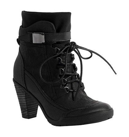 a97344ceb6d Černé šněrovací boty na širším podpatku