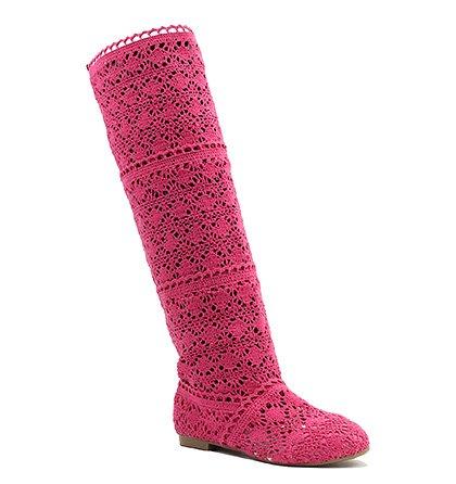 Vysoké háčkované růžové kozačky