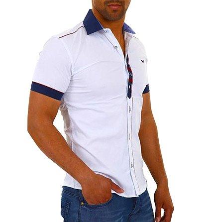 Pánská bílá košile a červeno-modrými detaily cec43ad1e6