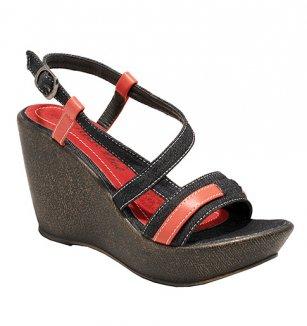 Džínové sandály na platformě černo-červené 50e62a1b94