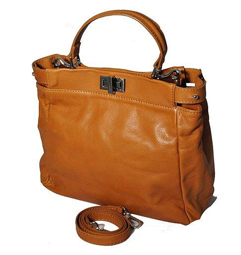7576d9c713 Světle hnědá kožená kabelka Fendi