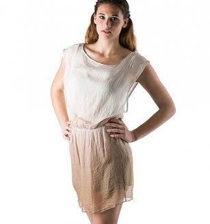 7ceead4acfc0 Hedvábné šaty béžovo-bílé