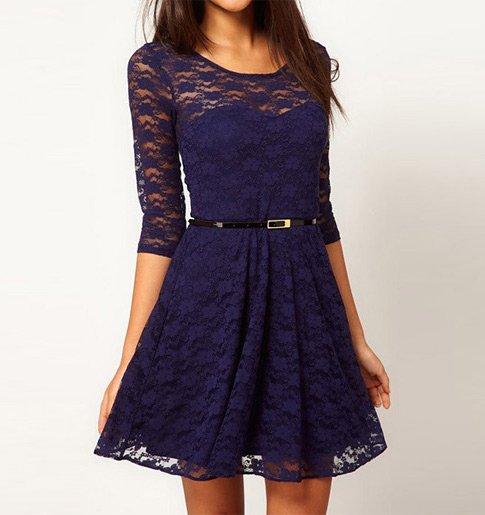 Tmavě modré krajkové šaty c460f81c5f3