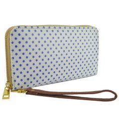 Biela kabelka s modrými bodkami