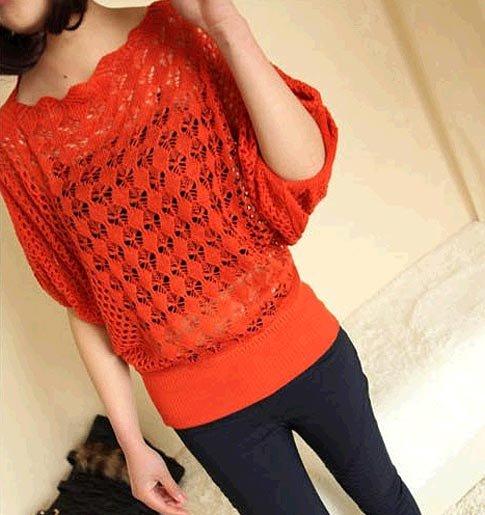 Háčkovaný svetr – červený 6ded9874a5