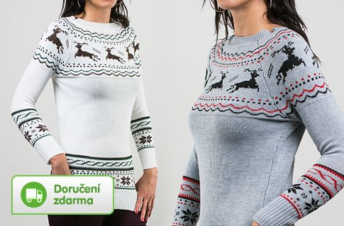 Dámský svetr s norským vzorem – 2 barvy ebd3bf0d38
