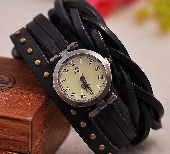 Levné dámské hodinky ▻Černý náramek b254bc1508