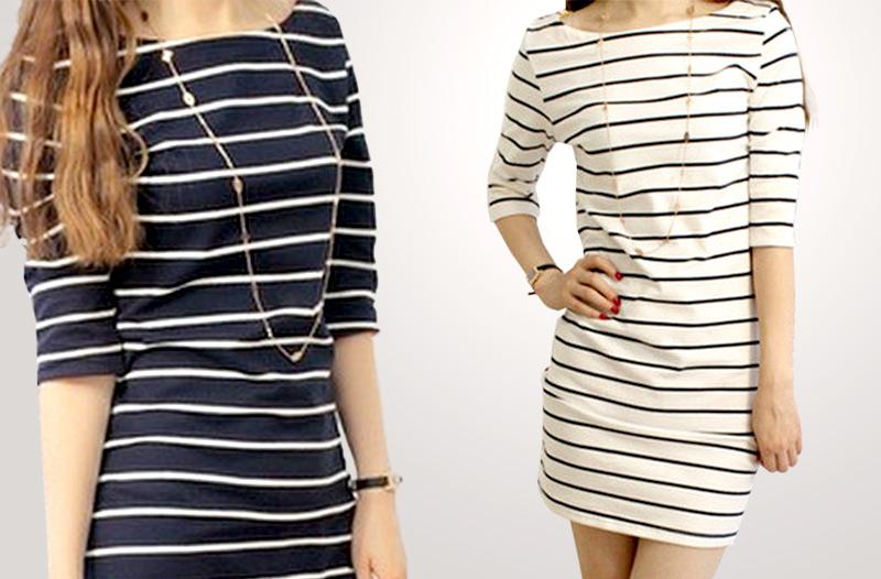 Akce  levné dámské oblečení – moderní proužkované šaty za 299 Kč ... f630ba088e