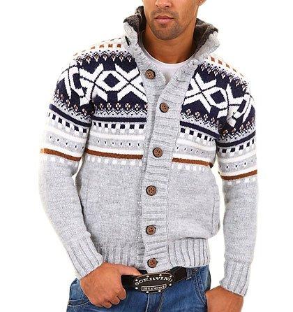 d8b0751293a Pánský pletený svetr s oranžovým pruhem Carisma