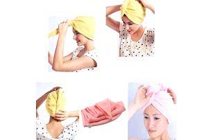 Ručníkový turban pro mokré vlasy - poštovné zdarma