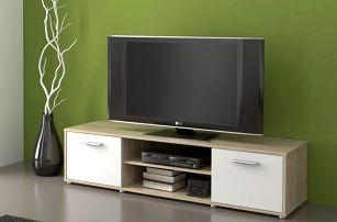 Televizní stolek ZU01, dub sonoma/bílá