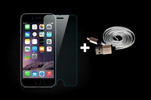 VÝHODNÉ BALENÍ Ochranné tvrzené sklo pro mobilní telefon iPhone + datový kabel USB 2.0