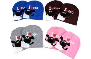 Roztomilá dětská čepice I LOVE DAD/I LOVE MOM - poštovné zdarma