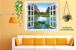 3D samolepka na zeď - Okno s květinami - poštovné zdarma