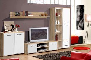 Obývací stěna PALERMO, dub sonoma/bílá