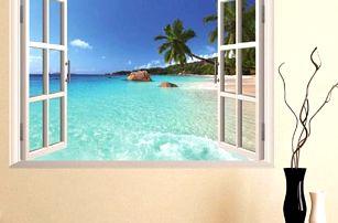 3D samolepka na zeď - okno na pláž - skladovka - poštovné zdarma