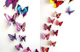 Dekorace v podobě motýlků - různé barvy - poštovné zdarma