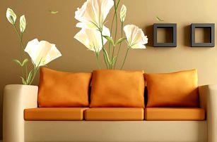 Dekorace na zeď - bílé květiny - dodání do 2 dnů