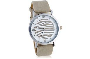 Dámské hodinky s páskem ve stříbrné barvě a zebrovaným ciferníkem