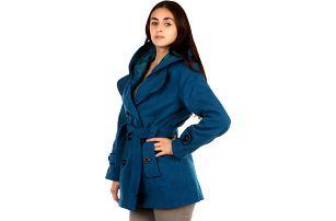 Krásný kabát s kontrastním lemováním a s kapucí hnědá