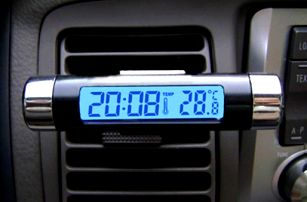 Teploměr do auta s hodinami a klipem pro připevnění - dodání do 2 dnů