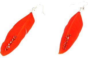Peříčkové náušnice s kamínky oranžová