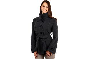 Dámský kabát s kontrastním lemováním - i pro plnoštíhlé šedá