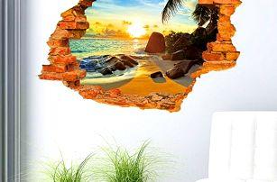3D samolepka na zeď - Pláž v západu slunce