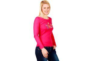 Dámské triko s dlouhým rukávem růžová