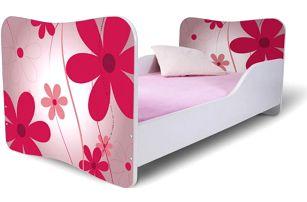 Dětská postel s růžovými květinami - DOPRAVA ZDARMA!