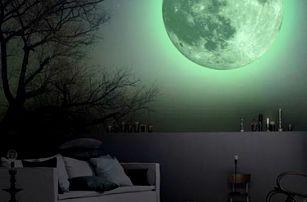Fluorescenční samolepka na zeď - Měsíc
