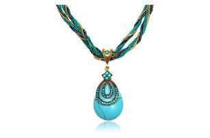 Výrazný vintage náhrdelník v tyrkysové barvě - skladovka - poštovné zdarma