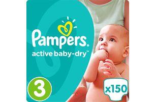 PAMPERS Active Baby 3 MIDI 150ks (4-9 kg) MEGA Box - jednorázové pleny