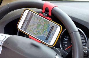 Držák na smartphone nebo GPS na volant auta - červená - skladovka - poštovné zdarma