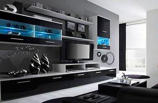 Nadčasová bílo-černá obývací stěna Alfa s LED osvětlením