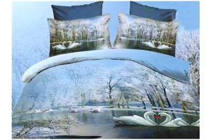 NOVIA Povlečení Francouzské s 3D efektem, bavlna, 3 dílné, Labutě, 200x220 70x90