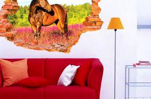 3D samolepka na zeď - Kůň na pastvě - dodání do 2 dnů