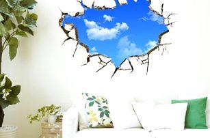 3D samolepka na zeď - Otvor s oblohou - dodání do 2 dnů