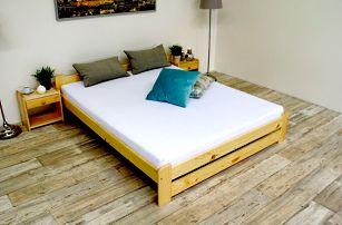 Postel s matrací a roštem EURO 90 x 200 cm - přírodní - lak