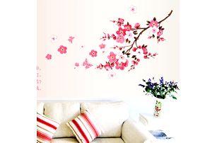 Samolepka na zeď - Růžové kvítky - dodání do 2 dnů