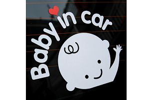 Baby in car - roztomilá samolepka na auto