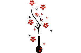 3D samolepka na zeď - Váza s květy