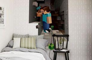 3D samolepka na zeď Minecraft