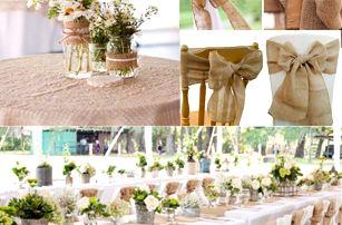 Jutová dekorace na svatby a jiné oslavy