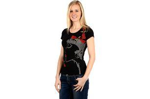 Krásné tričko s netradičním potiskem a kamínky černá