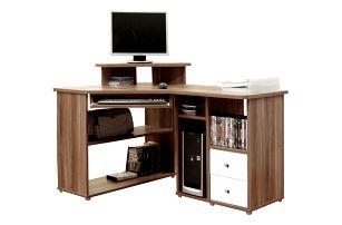 PC stůl THEODOR, švestka/bílá