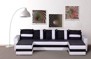 Craft Rohová sedačka FUGAZI, černá/bílá ekokůže